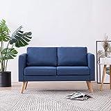 Festnight 2-Sitzer-Sofa Lounge Sofa   Kleines Stoffsofa Polstersofa   Modern Couch mit Holzrahmen + Stoffpolsterung   für Wohnzimmer Schlafzimmer   Blau