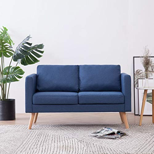 Festnight 2-Sitzer-Sofa Lounge Sofa | Kleines Stoffsofa Polstersofa | Modern Couch mit Holzrahmen + Stoffpolsterung | für Wohnzimmer Schlafzimmer | Blau