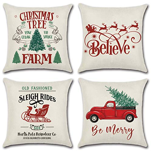 Christmas Throw Pillow Covers 18'x 18' | Set of 4 Christmas Tree Farm Pillow Cases for Sofa Car Cushion Cover | Vintage Christmas Home Decor