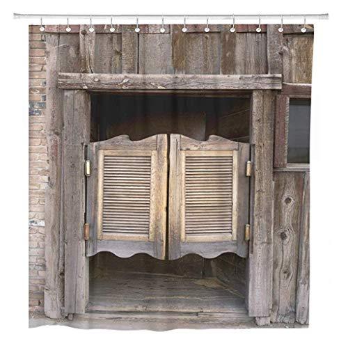 JOOCAR Cortina de ducha de diseño West Old Western con columpios para puertas de salón, barra de madera salvaje, tela impermeable para decoración de baño con ganchos