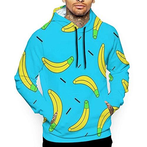 Blue Banana Sudadera con Capucha Unisex Novedad Sudadera Fresca de Manga Larga Bolsillos Grandes Sudadera con Capucha Estampada Divertida XL