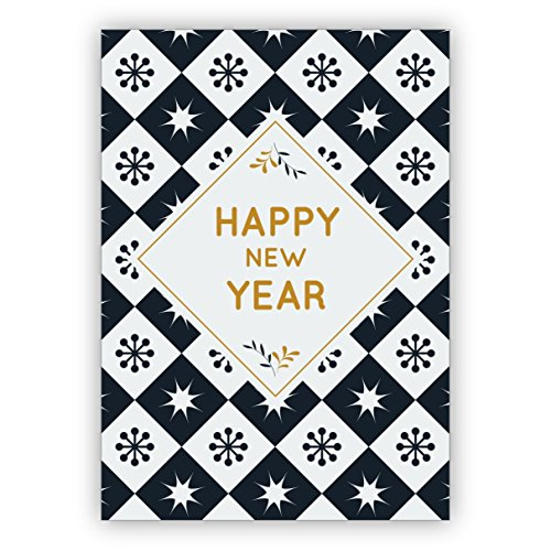 Klassiek blauw-witte oudejaarskaart als geluk voor het nieuwe jaar: Happy new year • ook direct verzending met hun tekst inlegger • fijne vouwkaart met envelop om te feliciteren voor goede wensen 16 Grußkarten