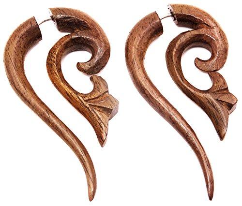 Pendientes falsos dilatadores de madera para hombre y mujer, unisex, étnico, expandente, Wood Wooden Fake en espiral