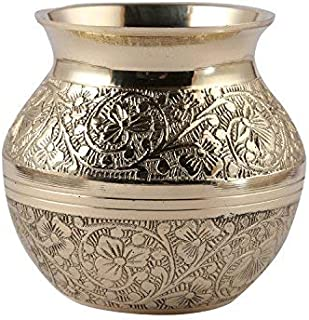 5Elements Brass Embossed Kalash Lota Utensil Best for Home & Office Decoration & Gift Purpose Handicraft (3.5 Inch)