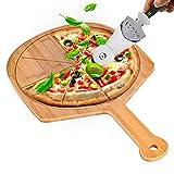 Pala para pizza de 30 x 40 cm con cortador de pizza 3 en 1, gran madera, empujador de pizza con 8...