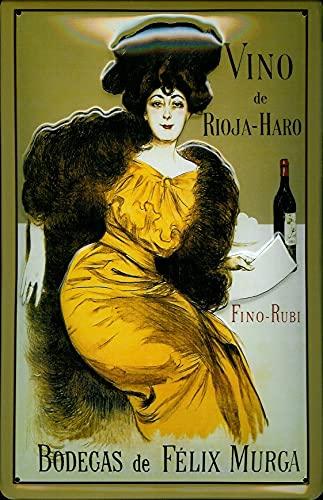 Generisch Vino de Rioja - HARO Bodegas de Felix Murga - Cartel de chapa de metal en relieve 3D con forma curvada, 20 x 30 cm