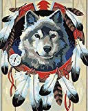 5D-DIY-Wolf Diamond Painting Cartoon Character Painting Bordado Picture Full Size Rhinestone Christmas Home Decoration Sin Marco 40x50cm
