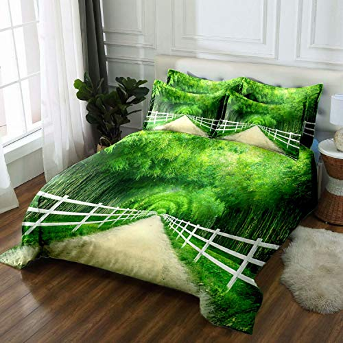 ATOLY Flat Sheet 100% Polyester- Best for Hotel, Spa, Hospitals and Home, Twin,Bamboo Forest Fence