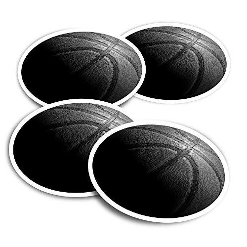 Pegatinas de vinilo (juego de 4) 10 cm – BW – Baloncesto Sports Ball Divertidas calcomanías para portátiles, tabletas, equipaje, reserva de chatarra #38895