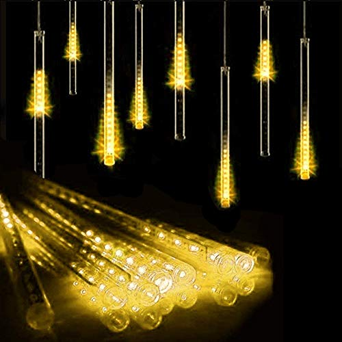 10 Tubes 30CM LED Météore Pluie Lumineuses Guirlandes Solaire,DINOWIN Lumineux Etanche Extérieur Douche Pluie Feux pour Noël Mariage Fête Soirée Maison Arbre Sapin Jardin (Blanc chaud)