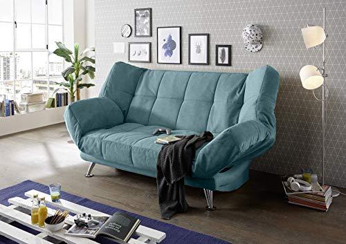 Stella Trading Ikar Schlafsofa Sofabed, Microvelour, Uran 21 grün, 208 x 102 x 98
