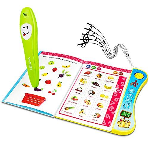 Powcan Libro de Aprendizaje de Voz para niños & Lápiz de Lectura de lógica Inteligente Juguete Educativo Divertido para niños pequeños Libro de Aprendizaje de Letras y Palabras en inglés