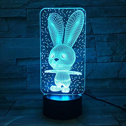 TIANXIAWUDI Square Rabbit 7 Colors Touch Cute Bunny Lamp/Touch Sensor Child Kids Baby Gift Night Light/Home Decor Lighting Rabbit LED Night Lights-Standing Rabbit_Touch 7 colors