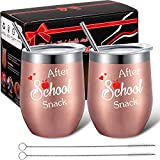 Well-designed gift box: you will get 2 teacher wine tumblers with lid, 2 stainless steel straws and 2 straw cleaning brushes in our designed gift box, which makes a nice present for anyone who loves to teach, suitable for a respected daycare provider...