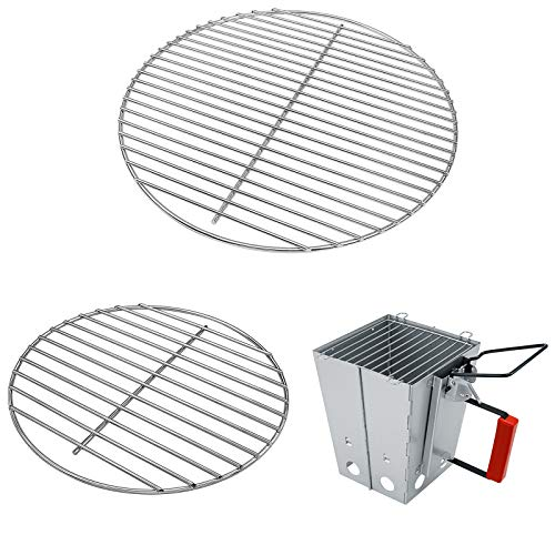 Hisencn 7431 Cooking Grate, 7439 Charcoal Grate for 14 Inch Smokey Joe, Smokey Joe Silver and Gold, Tuck-n-Carry Charcoal Grills, Folding Chimney Starter with Safety Handle for Weber 7417