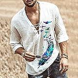 LIZONGFQ Moda Hippie Camisa de Lino Hippie Pájaro Impresión de pájaros Manga Casual V-Cuello de Verano Playa de Verano Camiseta de Color sólido Top Camiseta 2021,4,XL