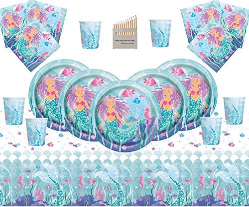 Mágica sirena Suministros para fiestas Fiesta de cumpleaños infantil Juego de vajilla 16 Debajo del mar Fiesta Sirena Plato Taza Servilletas Cubierta de mesa