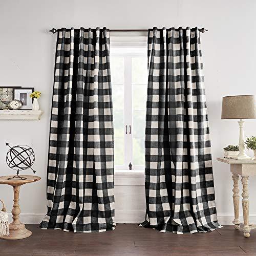 "Elrene Home Fashions Grainger Buffalo Check Blackout Window Curtain, 52""x95"" (1 Panel), Black"