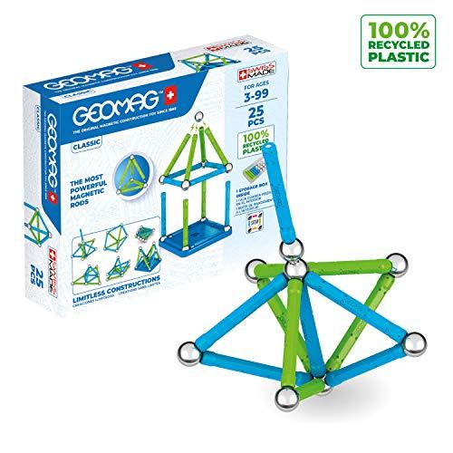 Geomag Classic - 25 Teile - Magnetisches Konstruktionsspielzeug für Kinder - Green Line - Lernspiel aus 100% Recyclingkunststoff