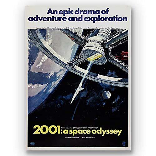 Box Prints Filmplakat 2001 Space Odyssey Vintage gerahmte Leinwand Wandkunstdruck