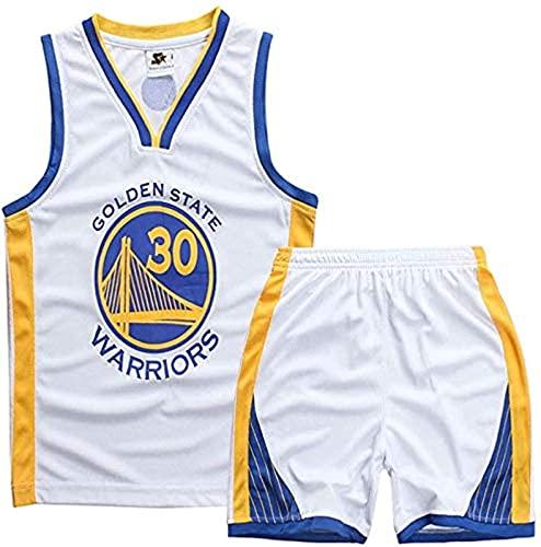 xzl Jerseys de Baloncesto de los niños y Las niñas, Stephen Curry # 30 Niños Baloncesto Jersey, Top, Pantalones Cortos de Verano, Golden State Warriors NBA Jersey, White - S