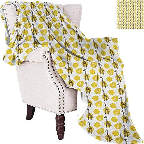 Lovii Giraffe Baby Blankets for Girls Safari Wild Animal Art Pattern with Green Spots for Baby Kids Suitable for Bed Sofa Yellow Green Dark Brown White 50