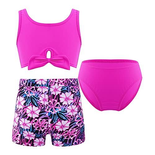 Kaerm Kids Girls Sport Athletic Bikini Tankini Swimsuit Rash Guard Swimwear Booty Shorts Bathing Suit Rose Red Floral 16 Years