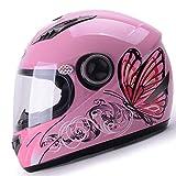 GSDZN - Mädchen Frauen Motorradhelm Personalisiertes Muster Schmetterlingsmuster Vier Jahreszeiten Universell Volles Halbes Gesicht Flip Nach Oben Motorradhelm,Pinkbutterfly-OneSize55-60cm