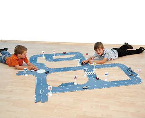 Straßen Bausatz, aus Polyester und rutschfestem Latex, Kinderspielteppich, Fördermaterial, inkl. 43 Teile - Kinderteppich Spielteppich Straße Puzzlematte Autoteppich Teppich Kinderzimmer Spiel Matte