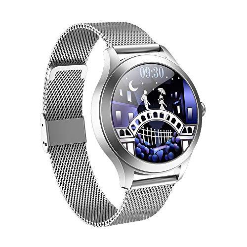 DHTOMC Reloj inteligente 1.1 pulgadas pantalla a color círculo completo, multifunción deportes sueño datos push notificación IP68 impermeable-plata
