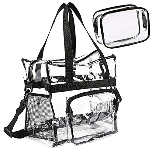クリアバッグ トートバッグ ショルダー 透明バッグ 夏 大容量 斜め掛け レディース ビニール 温泉 ポーチ付き