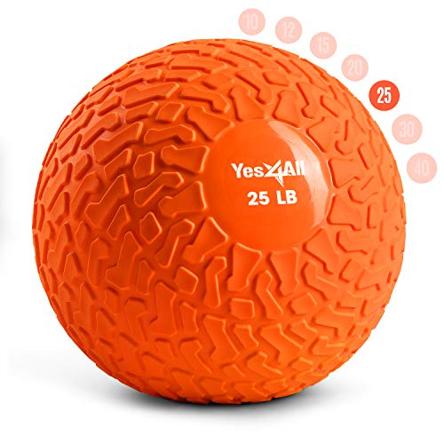 Yes4All Slam Balls 25lbs for Strength and Crossfit Workout – Slam Medicine Ball Orange Beast PMDS