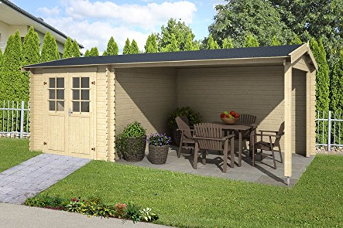 *Gartenhaus G239-28 mm Blockbohlenhaus, Grundfläche: 15,68 m², Satteldach*