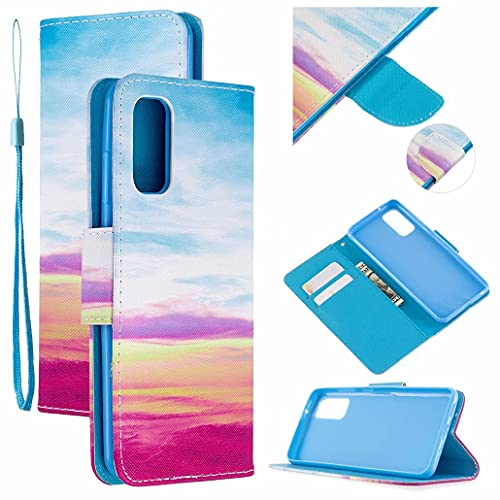 CRABOT Reemplazo para Samsung Galaxy S20 Funda de Cuero PU Plegable Cartera Cierre Magnético Ranura para Tarjeta Soporte Protectora Cover+1*Correa de Muñeca(Arcoíris)