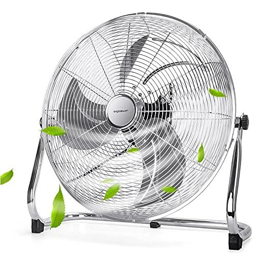 Aigostar Clover 33QNV - Ventilador Industrial Power Fan, 100W 3 Velocidades Ventilador de Suelo Silencioso, Ajustable 135º, 3 Aspas Metálicas, 46cm Diseño Completo de Metal Cromado
