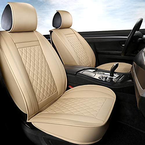 GIANT PANDA 1 Pair Front Car Seat Covers for Passenger Seat and Driver Seat, Fit Most Sedans SUVs Cars Minivans (Beige)