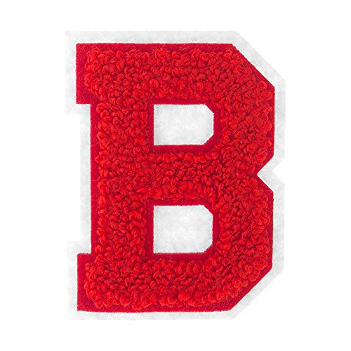 M&J Trimming Iron On Letters - Varsity Chenille A-Z Patches - Iron Adhesive or Sew On Appliques - Decorative 2.5' Red Letters with White Border
