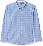 IZOD Men's Slim Fit Button Down Long Sleeve Stretch Performance Gingham Shirt, Pink Lady,