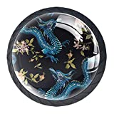 TIKISMILE Embroidery Oriental Floral with Dragons Drawer Knob Pull Handle Ergonomic 35mm Crystal <span class='highlight'>Glass</span> Circle Furniture Cabinet Handle for Kitchen Dresser Cupboard Wardrobe 4 PCS