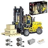 LICI Carretilla elevadora de técnica con mando a distancia y motor, 2,4 GHz/APP RC, excavadora de orugas motorizada, 2028, bloques de construcción, carretilla elevadora compatible con Lego Technic