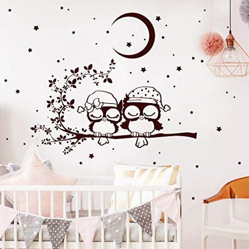 Wandtattoo Gute Nacht Eulen auf einem AST mit Mond und Sternen/braun / 35 x 44 cm