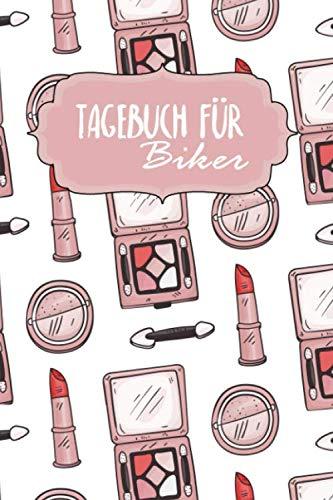Tagebuch für Biker: Notizbuch | Blanko Gepunktet | 120 Seiten | A5 | Für deine Reise mit dem Bike | Motiv: Rosa MakeUp