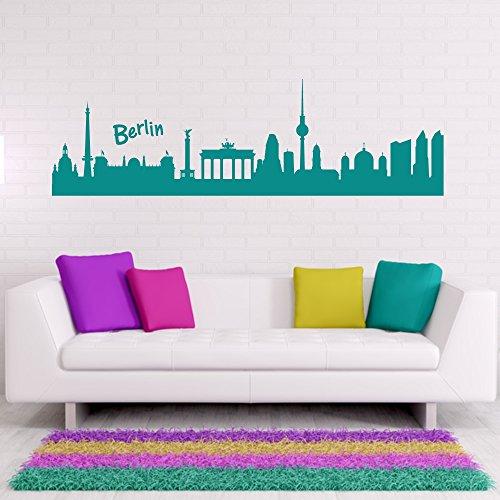 malango® Skyline Berlin Wandtattoo Wandaufkleber Aufkleber Wandbild Wandsticker Stadt Städte 150 x 45 cm braun braun 150 x 45 cm