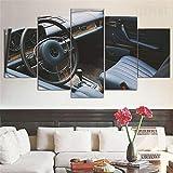 XIAYF Mercedes 250ce coche clásico 5 Piezas Cuadro en Lienzo Modernos Material no Tejido, Lienzo ArtíSticas HD Pintura Arte Marco PóSter, Decoración Pared Hogar Dormitorios (150 x 80 cm)