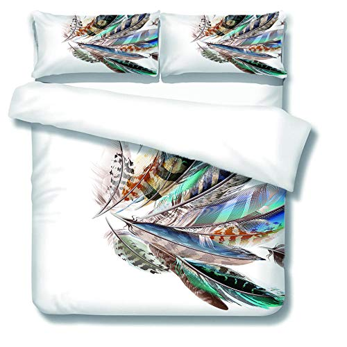 XCLXJ King Size Duvet Covers Set 3D Feather Pattern Printe Bedding Set 3 Piece Easy Care and Soft Microfiber Fabric Creative Gift for Kids Boys Girls Teens Adults Old Man(220x230 cm)