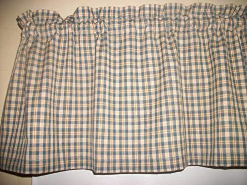 Deconovo Window Plaid Grommet Check Panels Linen Curtains for Kitchen Blue 52x95 Inch