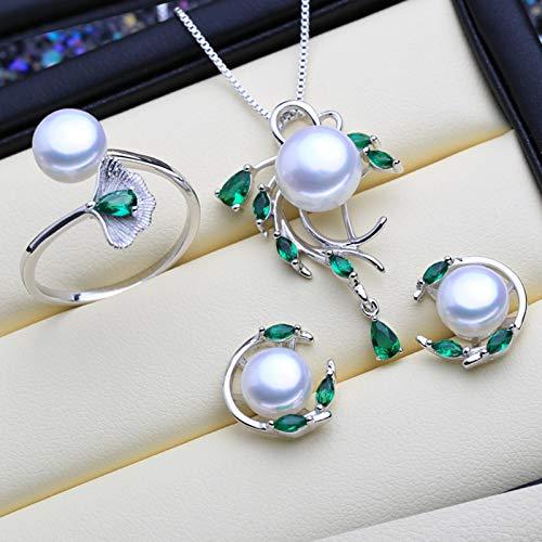 SALAN Conjuntos De Joyas De Perlas Esmeralda De Plata Esterlina 925 Pendientes De Botón Naturales Collar Colgante Bohemio Anillo De Piedras Verdes para Mujer