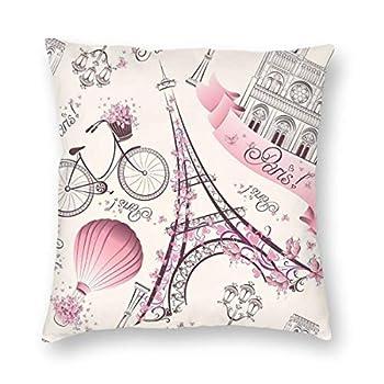 antcreptson Pink Paris Eiffel Tower Throw Pillow Decorative Pillow Case Home Decor Square 18x18 Inches Pillowcase