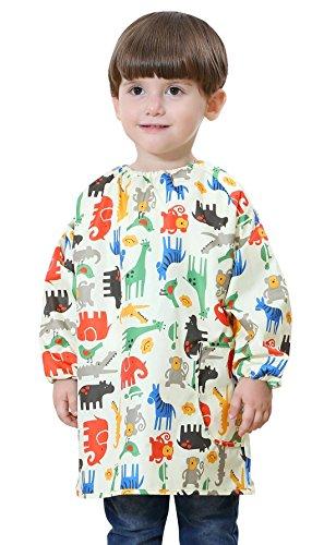 DAWNTUNG - Babero Impermeable Bebé con Mangas Largas Dibujo Animado Blusón Delantal Pintura Babi para Jugar Comer Infantil Niños Niñas 1-3 Años