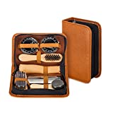 make it funwan Kit lustrascarpe con elegante custodia in pelle PU, kit spazzola lustrascarpe da viaggio in 7 pezzi